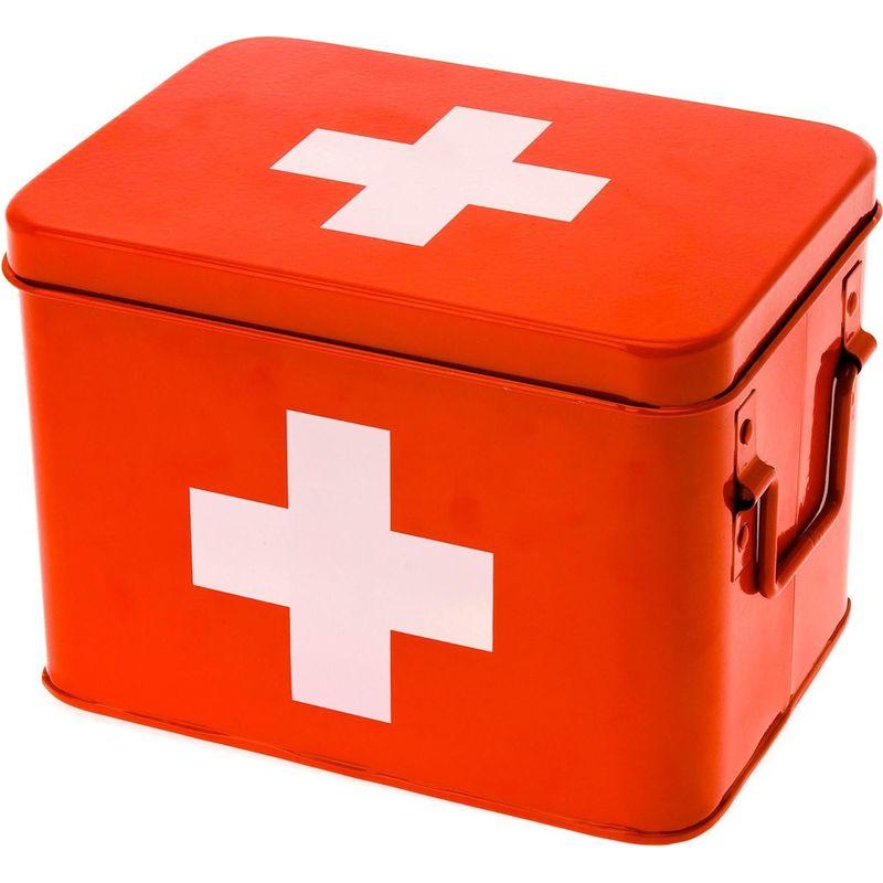 Pt Living - Boîte à pharmacie en métal Cross 21.5 x 15.5 x 16 cm - Rouge