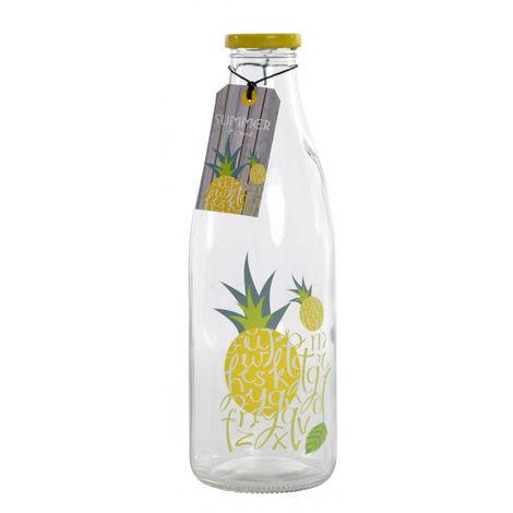 Botella Agua Cristal 1L con tapa de Rosca, hay 3 Modelos a elegir. Diseño Tropical/Summer y Estilo Moderno 9X9X26 cm B