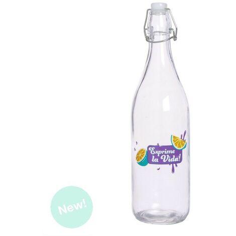 Botella Agua Cristal Transparente 1L con Tapa Hermética, Diseño Limones Exprime la Vida 5,5X25 cm