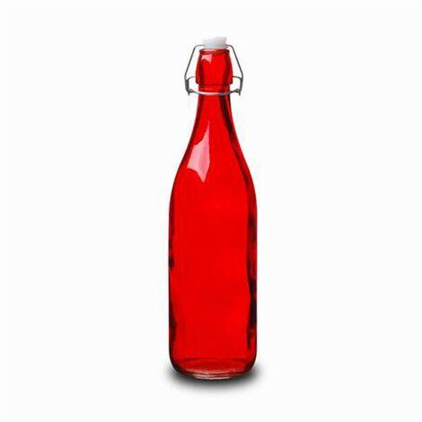 Botella Cristal 1L Roja con Tapón Estilo Tradicional Hogarymás