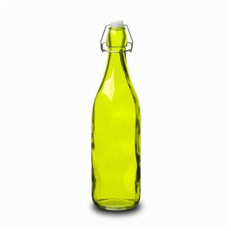 Botella Cristal 1L Verde con Tapón Estilo Tradicional Hogarymás