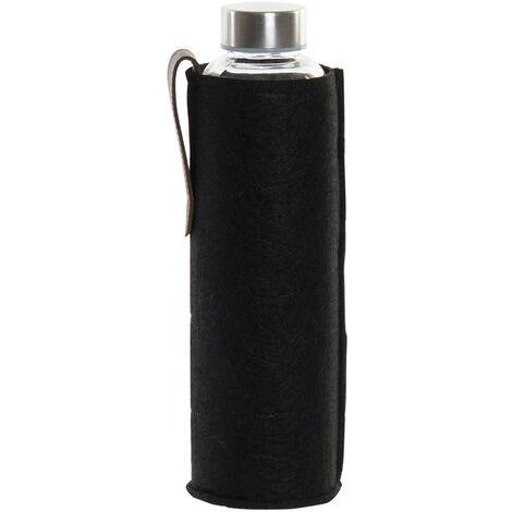 Botella Cristal Agua 600 ml, Botellas de Agua con Funda y Tapa. Diseño Práctico y Moderno 8,5x8,5x23 cm Negro