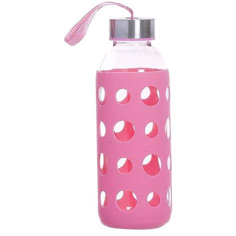 Botella de Agua Cristal con Funda de Silicona Antideslizante y Tapa 400 ML, Botella Agua Deporte/Viaje 19 cm ø 6cm Rosa claro