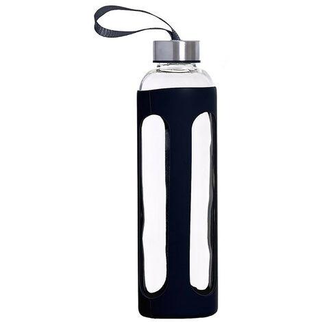 Botella de Agua Cristal con Funda de Silicona Antideslizante y Tapa 600 ML, Botella Agua Deporte/Viaje 7,2x7,2x25 cm Negro