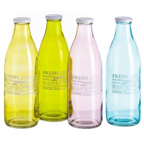 Botella de cristal con tapa de rosca de Hogar y Mas Rosa