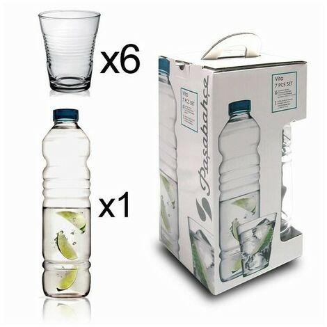 Botella de cristal para agua transparente, con seis vasos Vita.