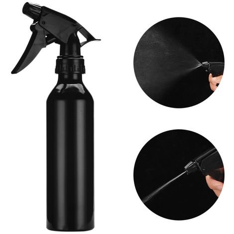 Botella de spray de aleacion de aluminio de 250 ml, botella vacia de presion, negro