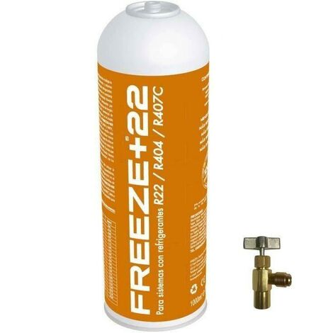 Botella Gas Refrigerante Freeze +22 400Gr + Valvula + Manguera Organico Sustituto R22/R404/R407C/