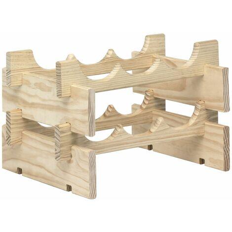 Botellero apilable Merlot de madera maciza de pino para 6 botellas (25x39x29cm)