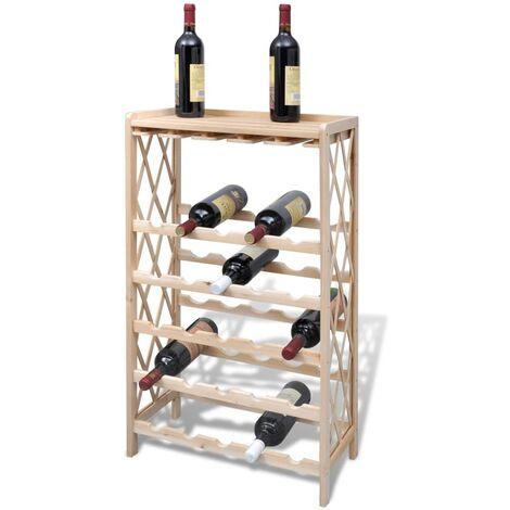 Botellero con estantes para 25 botellas madera maciza abeto