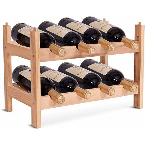 Botellero de Madera para 8 Botellas Estante de Vino 2 Niveles Madera de Pino