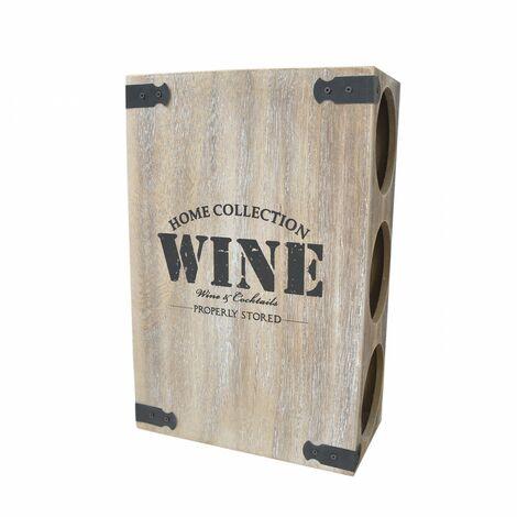 Botellero de madera realizado en metal y madera para vino - Estilo Natural - Hogar y más
