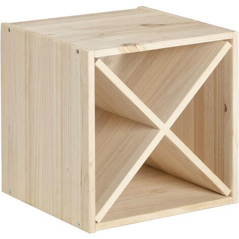 Botellero módulo cubo X de madera de pino para 12 botellas