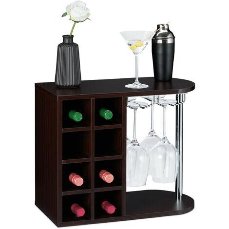 Botellero para 8 Botellas de Vino, Soporte Copas de Cristal, Aglomerado, 1 Ud., 42x52x28 cm, Marrón Oscuro