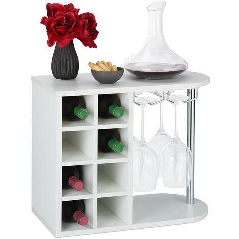 Botellero para 8 Botellas de Vino, Soporte Copas de Cristal, Tablero Aglomerado, 1 Ud., 42x52x28 cm, Blanco