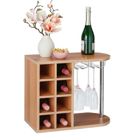 Botellero para 8 Botellas de Vino, Soporte Copas de Cristal, Tablero Aglomerado, 1 Ud., 42x52x28 cm, Marrón