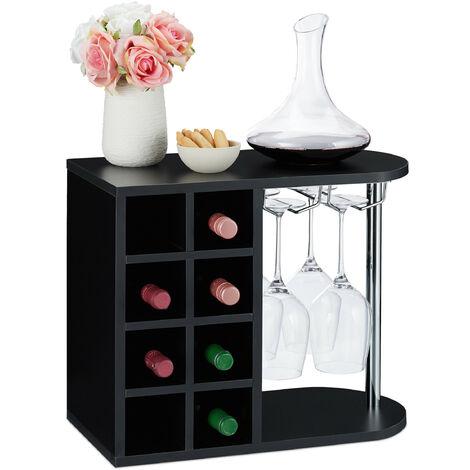 Botellero para 8 Botellas de Vino, Soporte Copas de Cristal, Tablero Aglomerado, 1 Ud., 42x52x28 cm, Negro