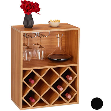 Botellero para 8 Botellas Vino, Soporte Copas, Estantería, 1 Ud., Tablero Aglomerado, 63 x 50 x 28 cm, Marrón