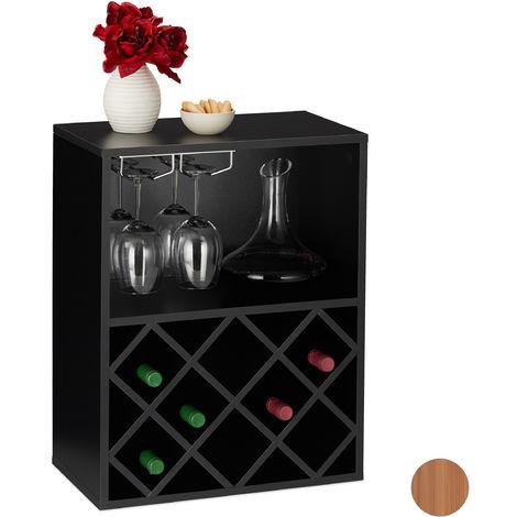 Botellero para 8 Botellas Vino, Soporte Copas, Estantería, 1 Ud., Tablero Aglomerado, 63 x 50 x 28 cm, Negro