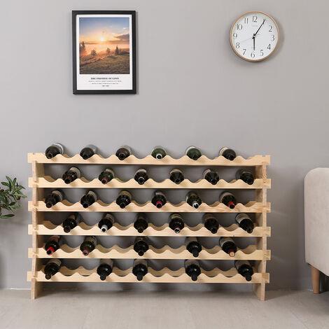 Botellero para Botellas - bambú Desmontable Botellero   Estante de Vino de 4 Piezas para 72 Botellas   119*29*71.5cm