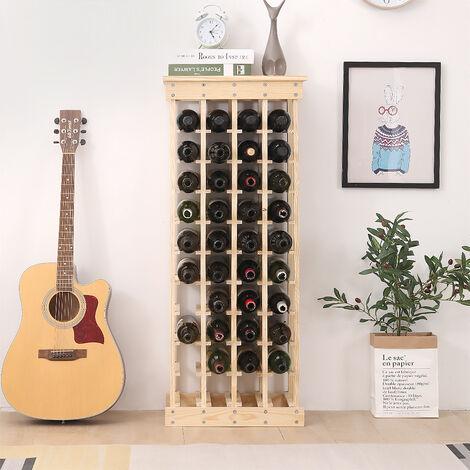 Botellero para Botellas - bambú Desmontable Botellero | Estante de Vino de piso 10 para 44 Botellas | 46.5*27.5*113cm
