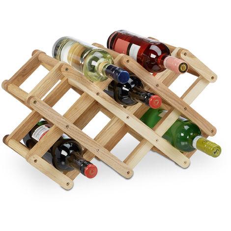 Botellero Vino 8 Botellas Plegable, Madera de Nogal, Marrón, 45 x 17 x 31 cm