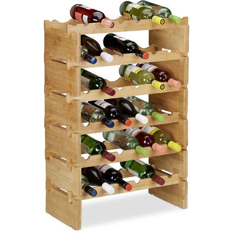 Botellero Vino Apilable hasta 36 Botellas, Bambú, Marrón, 6 niveles
