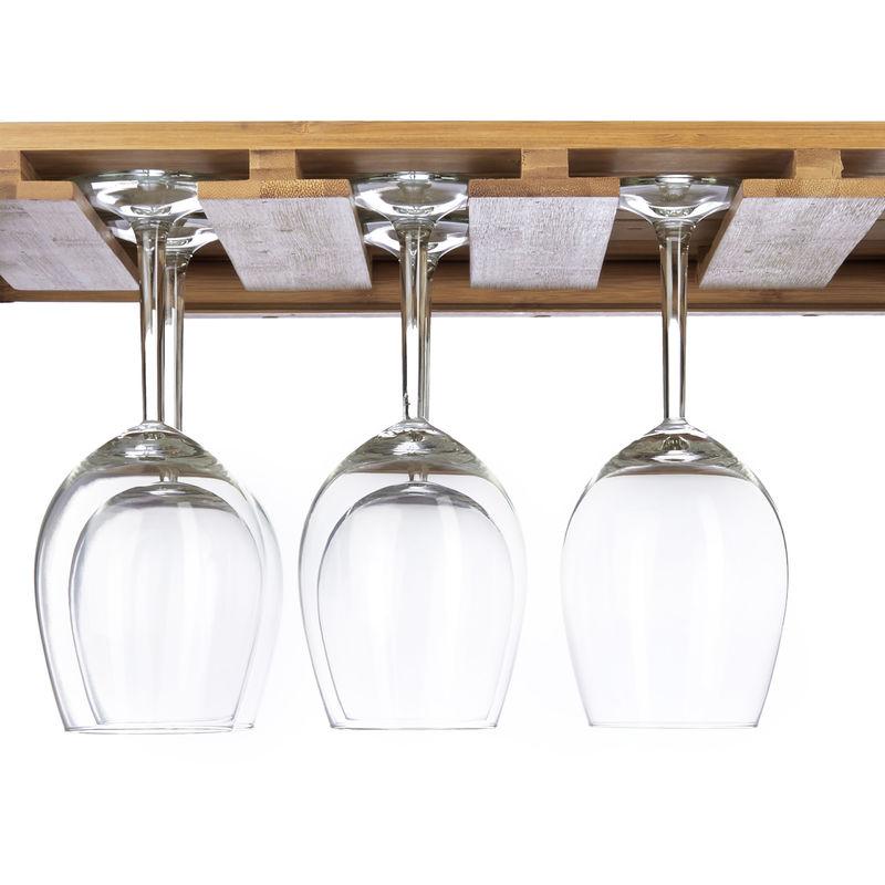 bamb/ú Relaxdays botellero Vino con Mesa Plegable para 4 Botellas y 4 Copas 80 x 58 x 27,5 cm marr/ón