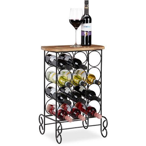 Botellero Vino y Mesa Auxiliar 12 Botellas, Hierro-Madera de Mango, Marrón-Negro, 64x46x37 cm