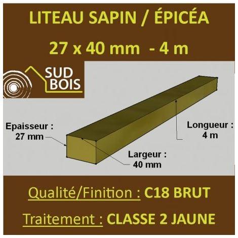 Botte de 12 Liteaux 27x40mm Sapin / Épicéa Brut Traité CL 2 Jaune 4m