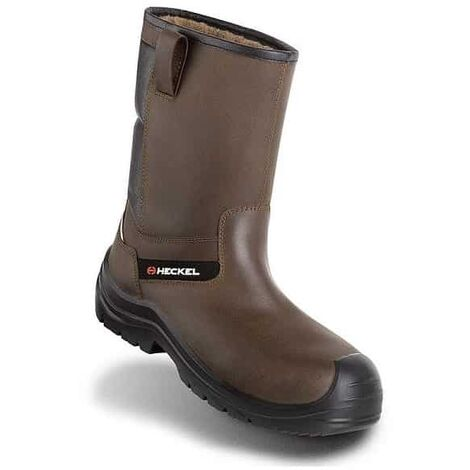 bottes de sécurité fourrez cuir marron - offroad snow