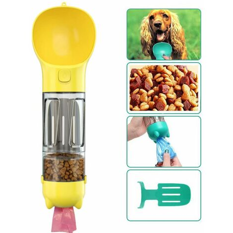 Bottle of dog for dog to walk, 300 ml pet drinking cup with shitty bag, shovel, dog food, cats, yellow
