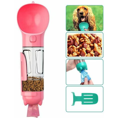 Bottle of water for dog to walk, 300 ml pet-drinking cup with shitty bag, shovel, dog food, cats, pink