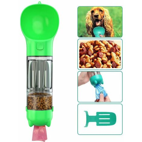 Bottle of water for dog to walk, 300 ml pets drinking cup with shit bag, shovel, dog food, cats, green