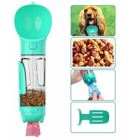 Bottle of water for dog to walk, 300 ml pets drinking cup with shitty bag, shovel, dog food, cats, blue