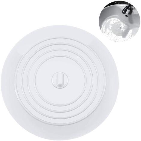 Bouchon de baignoire Bouchon de vidange Bouchon de bain Bouchons de baignoire Bouchon de baignoire en caoutchouc Couvercle de vidange d'évier de cuisine pour baignoire, blanc