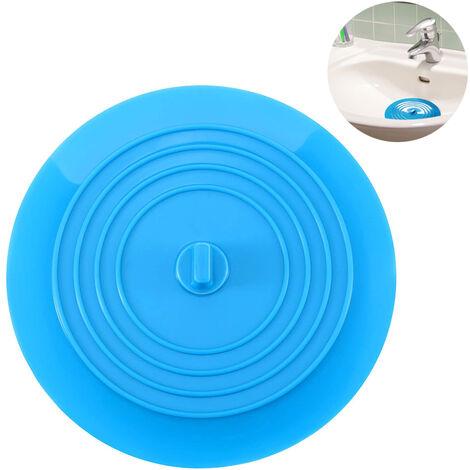 Bouchon de baignoire Bouchon de vidange Bouchon de bain Bouchons de baignoire Bouchon de baignoire en caoutchouc Couvercle de vidange d'évier de cuisine pour baignoire, bleu