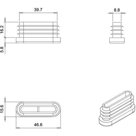 bouchon pour tube rectangulaire 30x18 gris plastique Capuchon Bouchons 10 pcs