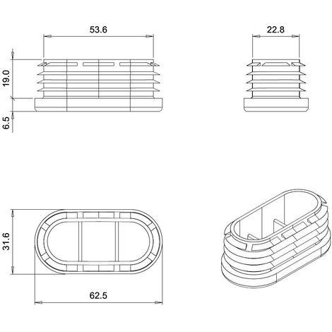 Bouchon, embout pied de chaise rectangulaire arrondi rentrant pour tube, table ou meuble Longueur x Largeur 60x30
