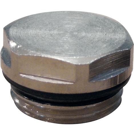 """Bouchon plein nickelé 1/2"""" (15/21) pour radiateur acier"""