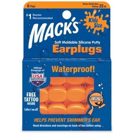 Bouchons d'Oreilles Waterproof Enfant pour Natation Orange Mack's - Orange