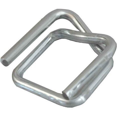 """main image of """"Boucle acier autobloquante 13 mm pour cerclage du feuillard plastique ou textile - carton de 1000 boucles"""""""