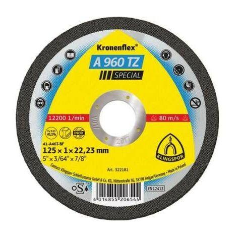 """main image of """"Bouclier pour couper l'acier inoxydable A 960 TZ spéciales 125x1,0x22mm 25 pièces plates Klingspor KL322181"""""""
