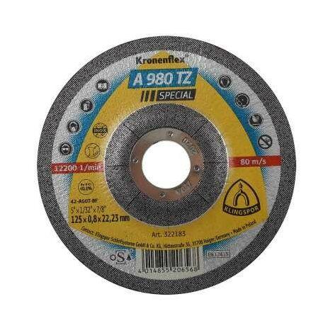 """main image of """"Bouclier pour couper l'acier inoxydable A 980 TZ spécial 125x0,8x22mm 25 pièces convexe Klingspor KL322183"""""""