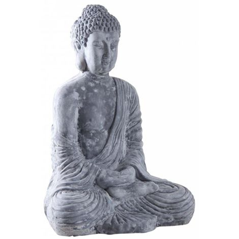 Bouddha assis fibre de ciment - Gris