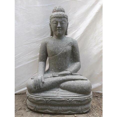Bouddha en pierre volcanique position offrande d'extérieur 100 cm