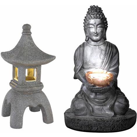 """main image of """"Bouddha solaire pour l'extérieur de la décoration de jardin de pagode de lanterne en pierre japonaise Lampe solaire de Bouddha, gris, 1x LED, jardin"""""""