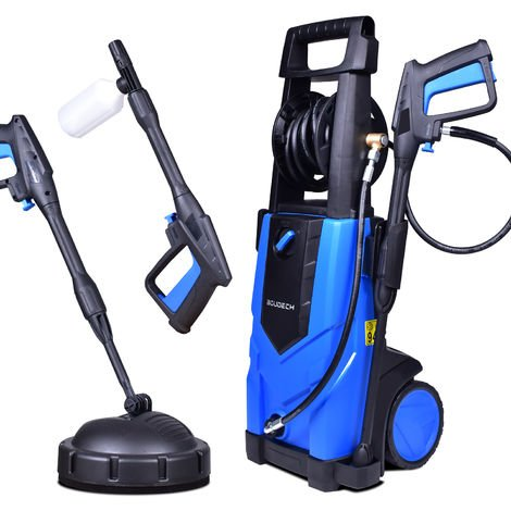 BOUDECH - ADVANCED 2500 - Electric high pressure washer 2500W Max 180Bar 500L/h with 5MT high pressure hose reel, detergent function and floor cleaning accessory.