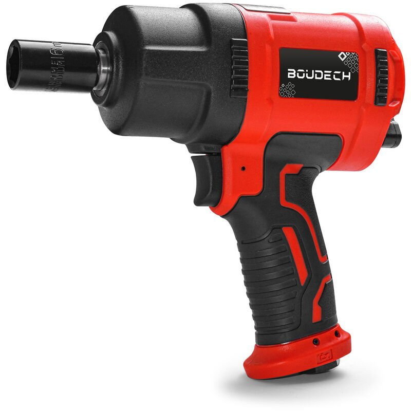 Image of BOUDECH - BOLT 1600 Compressed air reversible impact wrench 1600NM, 1/2', 8000 RPM. Ultra-compact pneumatic impact wrench with soft-grip, case and 10