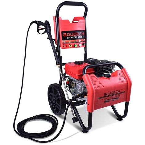BOUDECH - PRO 7000 - Ultra-powerful thermal pressure washer with OHV 7hp 4T petrol engine with 5 nozzles and integrated detergent container